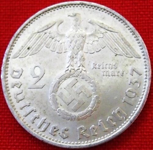 **WW2 SILVER NAZI GERMANY 2 REICHSMARK COIN RARE 100% HITLER ORIGINAL1939 - 1945 (WWII) - 13977