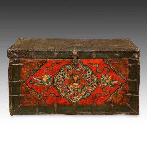 RARE ANTIQUE TRUNK PAINTED PINE IRON TIBET BUDDHIST CHINESE FURNITURE 18TH C.