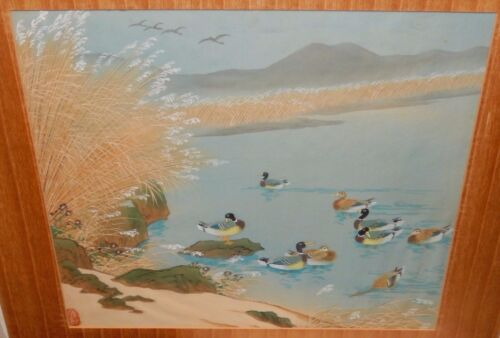 DUCKS ON A POND ORIGINAL ASIAN WATERCOLOR PAINTING SIGNED