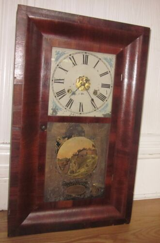 Antique Vintage Mid 19th c New Haven 30 Hour Weight Clock Reverse Painted Door