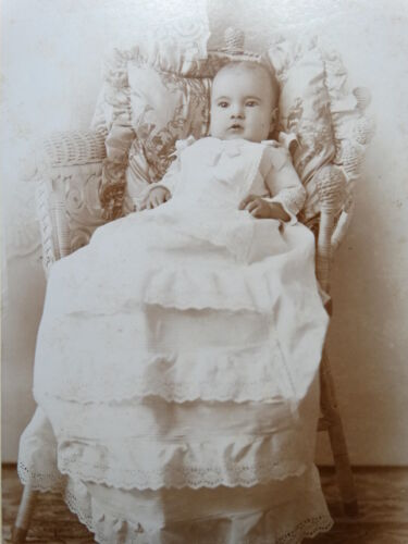 Cabinet Photo BEAUTIFUL INFANT Long CHRISTENING GOWN Wicker Chair Fall River Ma
