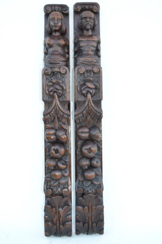 Pair of French Antique Trim Posts Pillars Columns Architectural Carved Oak Wood