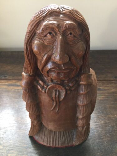 """HAND-CARVER BY MASTER CARVER. WALNUT INDIAN HEAD AND BUST 9"""" HT X 5"""" ACROSS"""