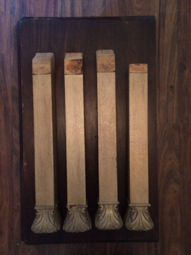 SET OF 4 ANTIQUE SQUARED OAK TABLE LEGS WITH CARVED FEET FOR YOUR PROJECT