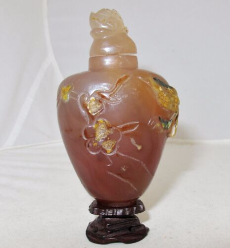 "3.7"" Chinese Carved Burnt Orange & Tan Carnelian Agate Snuff Bottle with Bird"