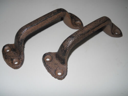 4 Cast Iron Antique Style RUSTIC Barn Handle, Gate Pull, Shed / Door Handles HD