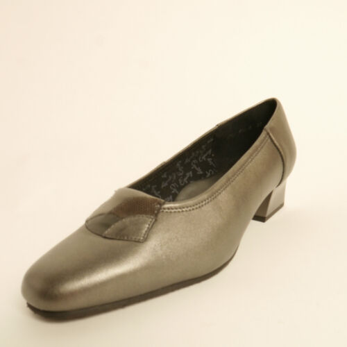 Equity Symphony  Court Shoe Grey Leather And Patent EE Fitting Low Heel