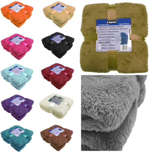Large Soft Warm Fleece Cuddly Teddy Throw Sofa Double King Bed Blanket