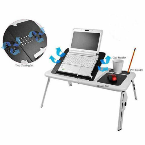 Foldable Laptop Lap e-Table Bed with USB Cooling Fans Stand TV Tray