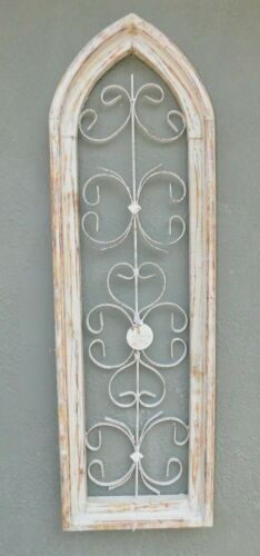 Wooden Antique Style Church WINDOW Wrought Iron Primitive Wood Gothic 38 INCH
