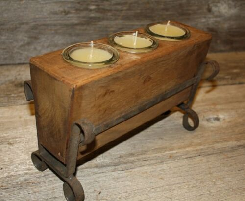 3 Hole Wooden Sugar Mold Wood Candle Holder Primitive Clear Glass Votives