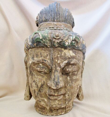 "BIG 19.5"" Antique Chinese Painted & Carved Wood BUDDHA or KWAN-YIN Bust Statue"
