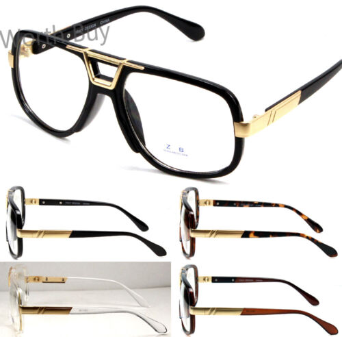 Mens Womens DMC Square Frame Gazelle Clear Lens Fashion Glasses DJ Hip Hop Retro
