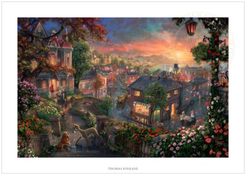 Thomas Kinkade Lady and the Tramp 12 x 18 S/N Limited Edition Paper Disney