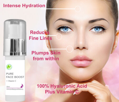 Pure 100% Hyaluronic Acid + 20%Vitamin C Anti Ageing Plumping Face Serum 30 ml <br/> Proudly the Only H/A Serum Brand Made in Australia