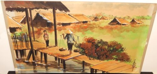 OLD 19TH CENTURY VIETNAM VILLAGE WATERCOLOR LANDSCAPE PAINTING SIGNED #2