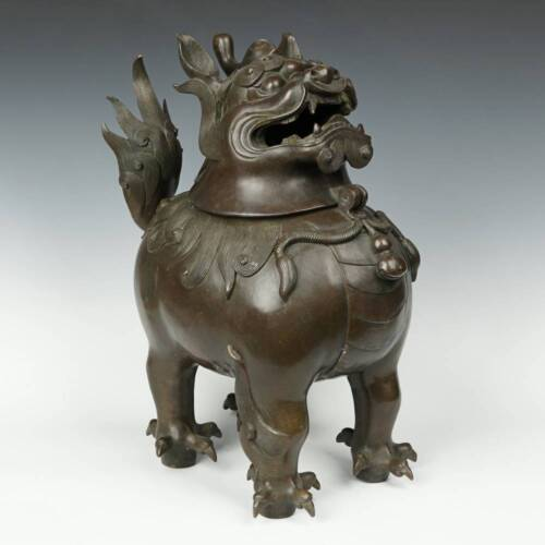 VINTAGE CHINESE INCENSE BURNER CENSER BRONZE FOO LION HEBEI CHINA 20TH C