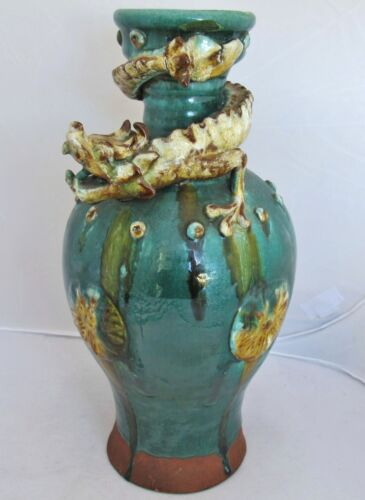"""13"""" Antique Chinese or Japanese Pottery Drip Glazed Vase with High Relief DRAGON"""