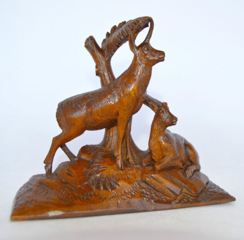 Antique Black Forest Hand Carved Wood Sculpture Figurine - Chamois