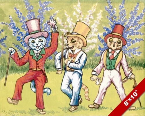 CATS IN SUITS TOP HATS LOUIS WAIN PAINTING TOMCAT TOM CAT ART REAL CANVAS PRINT