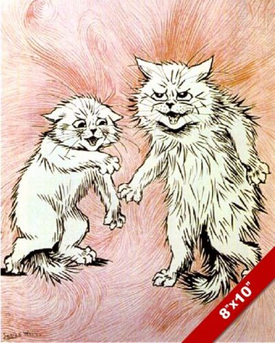 CATS FIGHTING LOUIS WAIN ILLUSTRATION SKETCH PAINTING CAT ART REAL CANVAS PRINT