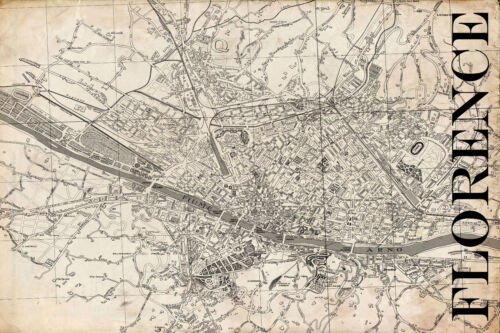 """Vintage Map of Florence 20"""" x 30:"""