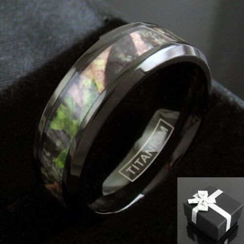 Black Titanium Men's Red & Green Forest Camo Wedding Band Ring Size 9-13