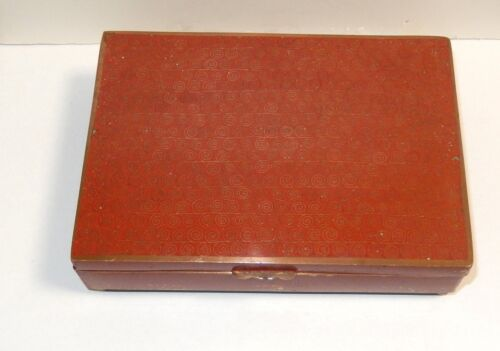 RARE CHINESE CLOISONNE RED ENAMEL FLORAL HUMIDOR JAR BOX