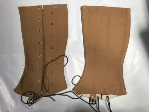 M1898 Drab (Khaki)  Canvas Infantry Cavalry Leggings Size 4Reproductions - 156386