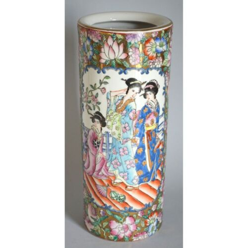 Vintage Chinese Hand Painted Colored Cylindrical Vase Ladies at the Court