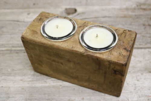 2 Hole Wooden Sugar Mold Wood Candle Holder Primitive Clear Glass Votives
