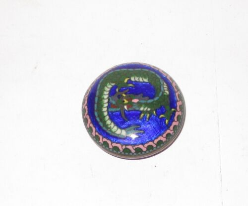 RARE OLD BRONZE JAPANESE GINBARI CLOISONNE BLUE ENAMEL DRAGON SNUFF JAR BOWL BOX
