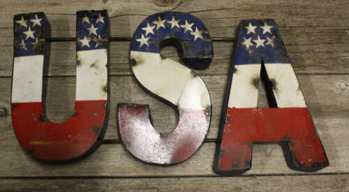 RUSTIC Metal LETTERS USA TIN Sign GARDEN Home Ranch Decor Man Cave
