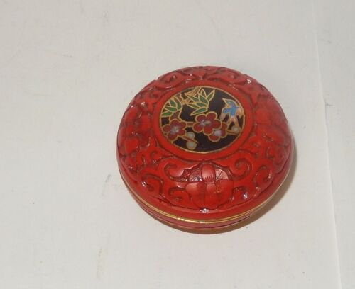 RARE SMALL CHINESE FLORAL CARVED CINNABAR LACQUER CLOISONNE ENAMEL BOWL JAR BOX