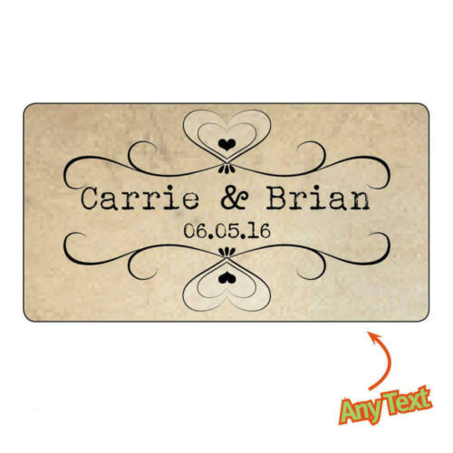 130 x Personalised Mini Wedding Bride Shabby Vintage Rustic Favour Stickers -827