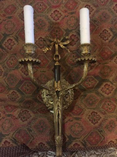 Old Double Armed Black And Gold Ribbon Sconces Rupert Murdoch Estate- Rococo