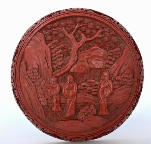 Old Chinese Cinnabar Lacquer Carved Carving Enamel Round Box Figure Figurine