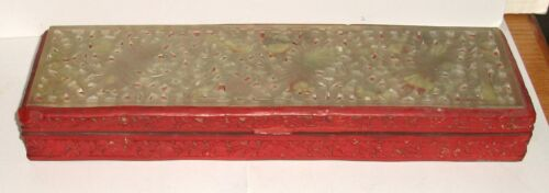 OLD CHINESE CINNABAR LACQUER CARVED FLORAL SERPENTINE WHITE JADE LARGE BOX