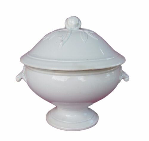 French Vintage Shabby Chic Covered Serving Tureen, Artichoke Lid White Ironstone