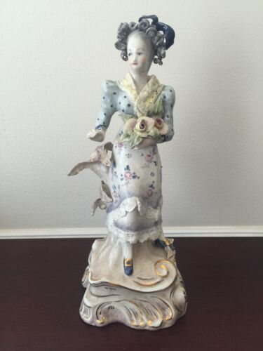 Vintage Cordey Victorian Woman Holding Yellow Roses Figurine #5082