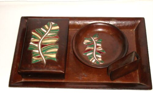 ANDO CLOISONNE COPPER ENAMEL TRAY PLATE BOX SET SIGNED