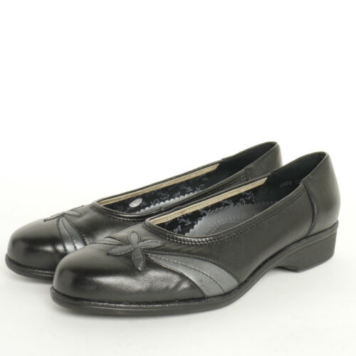 Ladies Equity Blenheim Black Leather Court Shoe EE Fitting Leather Black