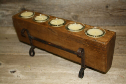5 Hole Wooden Sugar Mold Wood Candle Holder Primitive Clear Glass Votives