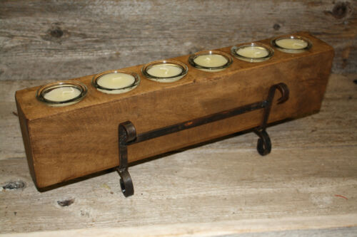 6 Hole Wooden Sugar Mold Wood Candle Holder Primitive Clear Glass Votives