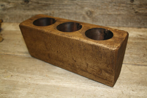 Lot of 3, 3 Hole Wooden Sugar Mold Wood Candle Holder Primitive