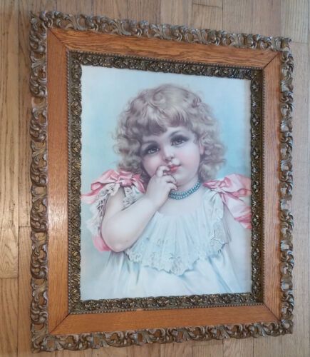 Antique Victorian Layered Oak & Gold Floral Gesso Picture Frame Girl Child Print