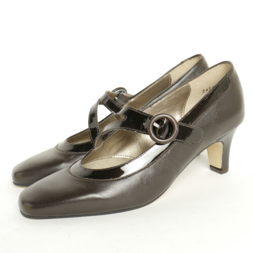 Equity Flame Brown Leather Strap Court Shoe E Fitting