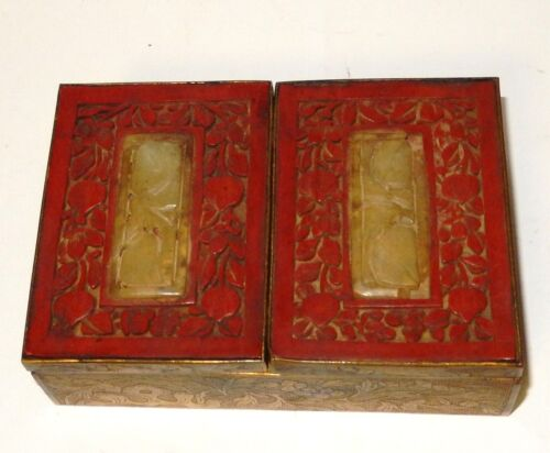 RARE OLD CHINESE CARVED FRUIT WHITE JADE CINNABAR DOUBLE SIDED HUMIDOR BOX