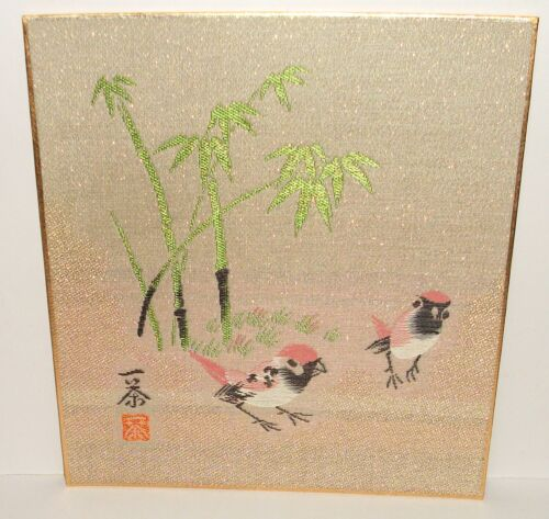 CHINESE EMBROIDERED BAMBOO PINK BIRDS TAPESTRY SIGNED