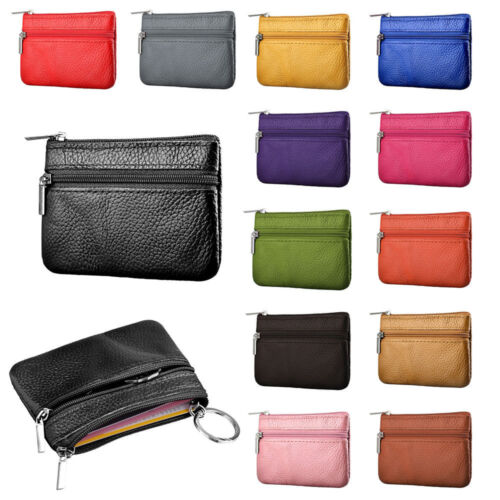 New Women Ladies Men Genuine Leather Small Coin Card Key Ring Wallet Pouch Purse